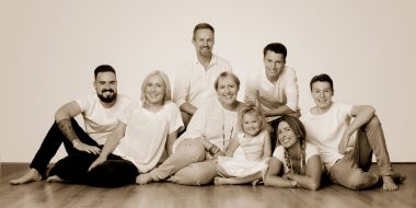 Family in sepia