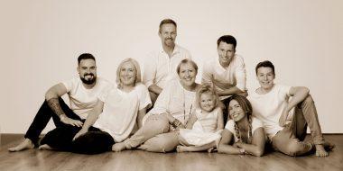 Family in sepia